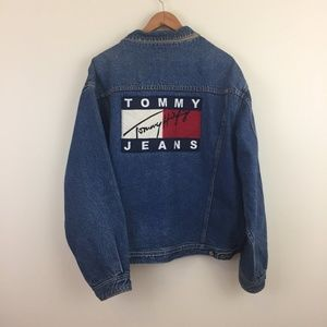 tommy hilfiger vintage 90s big flag denim jacket